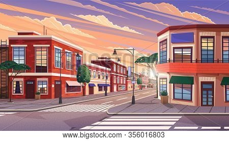 Street Of Town At Morning. Cityscape With Old Apartment Houses And Trees On Crossroad. Cartoon Vecto