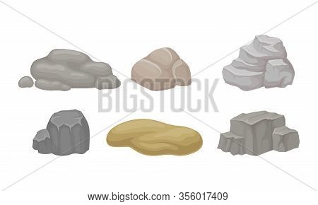 Rock Stones And Cobblestones Isolated On White Background Vector Set