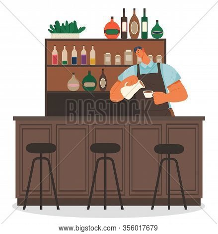 Barista At Work Pouring Milk In Coffee. Male Character Working In Coffeehouse Making Beverages For C