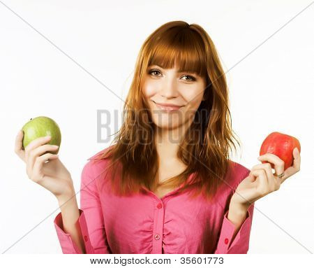 healthy woman holding apple