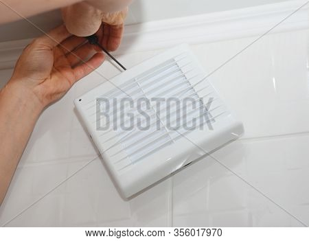 Man Repair Bath Fan Image Photo Free Trial Bigstock