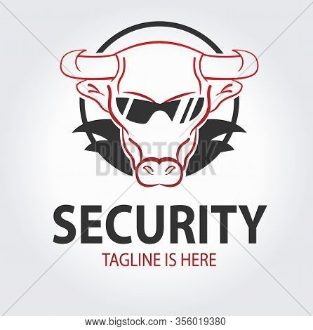 Bodyguard Or Safeguard Logo Concept With Bull In Sunglasses. Security Company Icon. Wild Protection