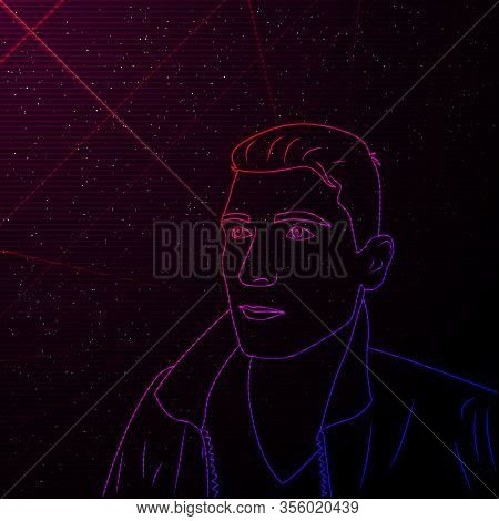 Synthwave Vaporwave Retrowave Contour Portrait Of Man. Vector Full Face Man On Starry Space Backgrou