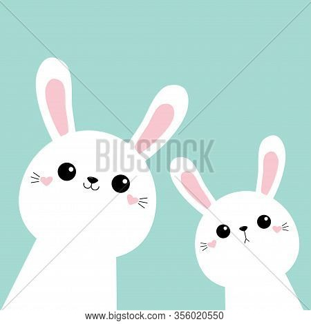 Two Bunny Rabbit Face Head Icon Set. Cute Kawaii Hare Animal. Golden Crown. Cartoon Funny Baby Chara