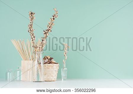 Natural Beige Organic Accessories For Interior In  Green Mint Menthe Interior - Dried Plants In Bott