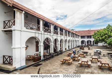 Galle,sri Lanka - February 14,2020 - View At Courtyard Of Old Dutch Hospital In Galle. Galle Is The