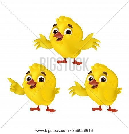 Set Of Cute Cartoon Chicks Isolated On A White Background. Vector Illustration With Funny Three Yell