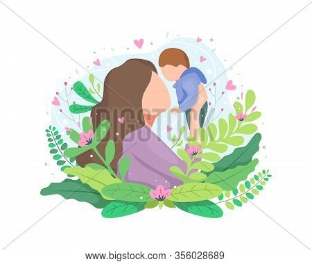 Vector Illustration Mother Holding Baby. Mother Throws Baby Up, Portrait Of Happy Loving Mother And