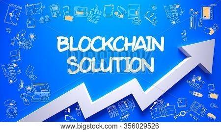 Azure Wall With Blockchain Solution Inscription And White Arrow. Success Concept. Blockchain Solutio