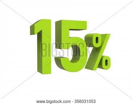 3d Render: ISOLATED 15% Percent Discount 3d Sign on White Background, Special Offer 15% Discount Tag, Sale Up to 15 Percent Off, Fifteen Percent Letters Sale Symbol, Special Offer Label