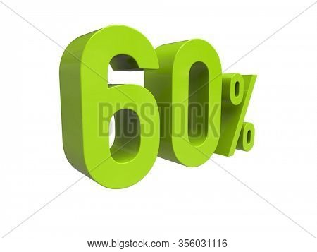 3d Render: ISOLATED 60% Percent Discount 3d Sign on White Background, Special Offer 60% Discount Tag, Sale Up to 60 Percent Off, Sixty Percent Letters Sale Symbol, Special Offer Label