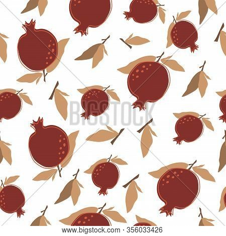 Seamless Background With Pomegranates And Leaves. Vector Illustration, Background, Home Decor, Poste