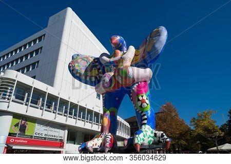 Duisburg, Germany - September 30, 2018: Life Saver Sculpture, A Collaboration Between Niki Des Saint