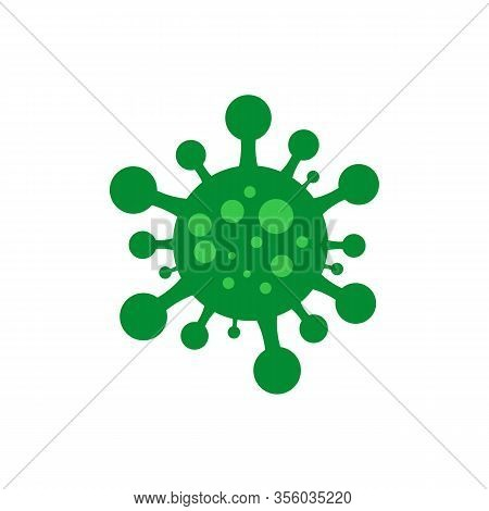 Coronavirus 2019-ncov. Corona Virus Icon. Green On An Isolated White Background. Chinese Pathogenic