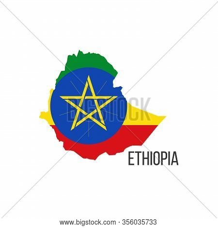 Ethiopia Flag Map. The Flag Of The Country In The Form Of Borders. Stock Vector Illustration Isolate