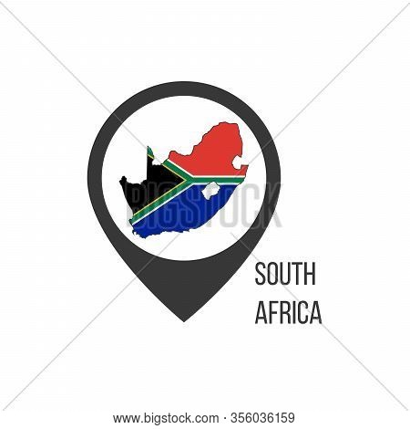 Map Pointers With Contry South Africa. South Africa Flag. Stock Vector Illustration Isolated On Whit