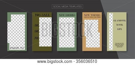 Social Stories Cool Vector Layout. Online Shop Fashion Graphic Apps. Funky Sale, New Arrivals Story