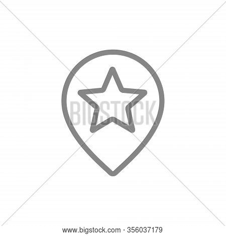 Star With Location Mark, Favorite Place Line Icon. Rating, Add To Favorites, Quality Control, Custom