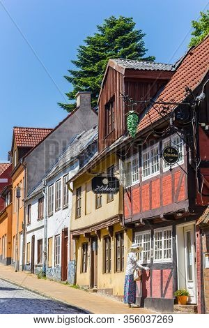 Flensburg, Germany - June 25, 2019: Half Timbered House Of The Johannsen Rum Factory In Flensburg, G