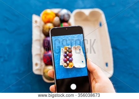 Holidays, Tradition, Technology And People Concept - Close Up Of Man Hands With Smartphone Taking Pi