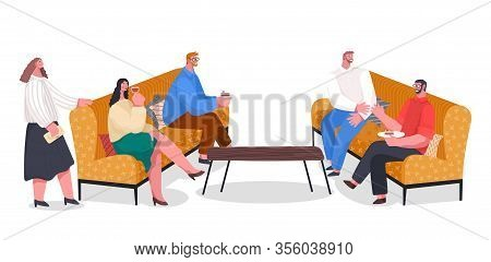 People Have Dinner, Party With Food And Drinks, Home Reception. Friends Spending Leisure Time Togeth