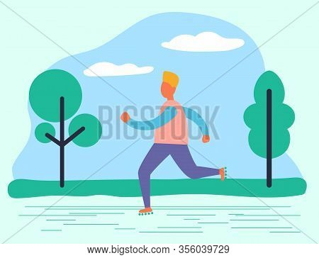 Male Character Running In Summer Park. Man Leading Active Lifestyle Jogging Outdoors. Sportive Perso