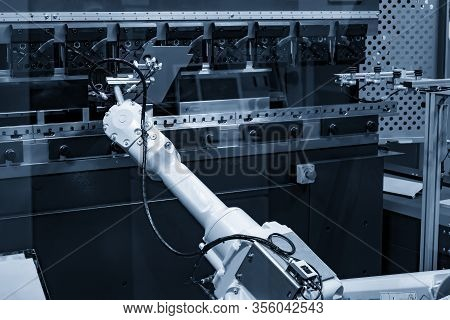 The Hydraulic Bending Machine Operation With Automatic Robotic System For Material Handling . The Hi