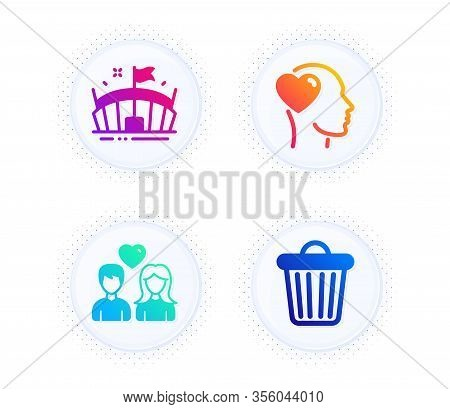 Arena, Couple Love And Friend Icons Simple Set. Button With Halftone Dots. Trash Bin Sign. Sport Sta