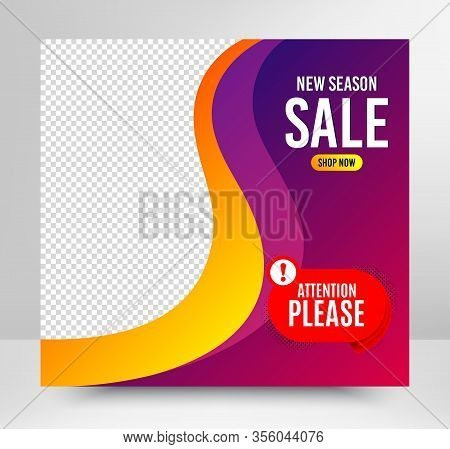 Attention Please Badge. Sale Banner Template. Warning Chat Bubble Icon. Special Offer Label. Social