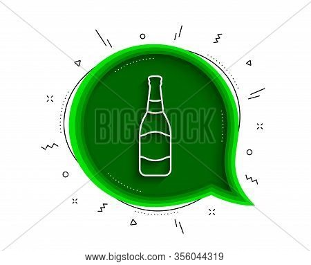 Beer Bottle Line Icon. Chat Bubble With Shadow. Pub Craft Beer Sign. Brewery Beverage Symbol. Thin L