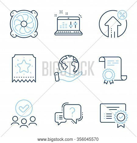 Certificate, Computer Fan And Question Mark Line Icons Set. Diploma Certificate, Save Planet, Group