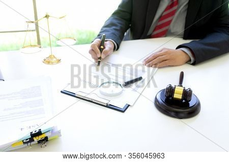 Lawyer Or Judge Use Magnifier Glass