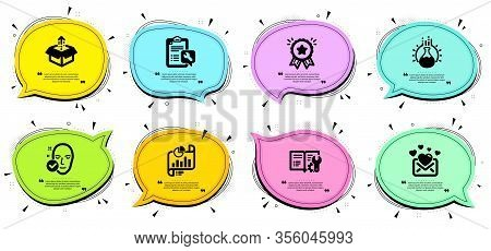 Chemistry Experiment, Loyalty Award And Health Skin Signs. Chat Bubbles With Quotes. Engineering Doc