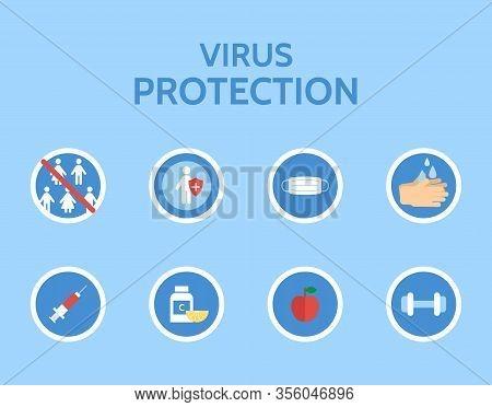 Virus Protection Infographic. Stop Virus. Medical Examination. Corona Virus Prevention. Virus Covid