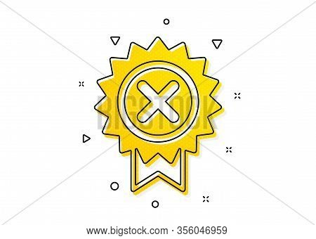 Decline Award Sign. Reject Medal Icon. Yellow Circles Pattern. Classic Reject Medal Icon. Geometric