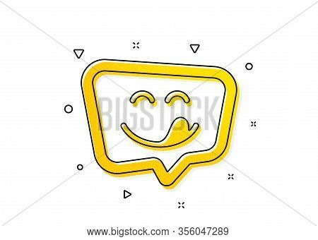 Emoticon With Tongue Sign. Yummy Smile Icon. Speech Bubble Symbol. Yellow Circles Pattern. Classic Y