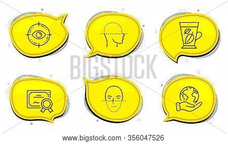 Face Recognition Sign. Diploma Certificate, Save Planet Chat Bubbles. Mint Leaves, Eye Target And Fa