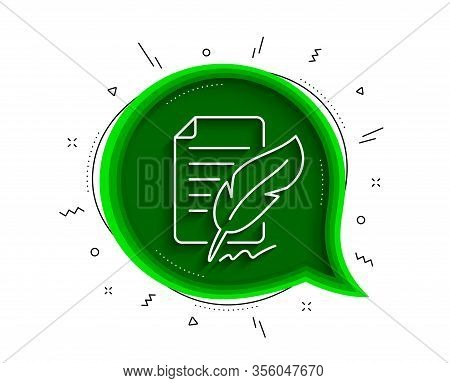 Feather Signature Line Icon. Chat Bubble With Shadow. Copywriting Sign. Feedback Symbol. Thin Line F