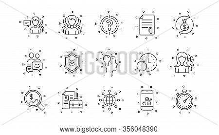 Group Of People, Portfolio And Teamwork Icons. Business Line Icons. User Profile Linear Icon Set. Ge