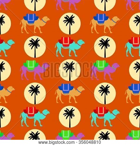 Vector Seamless Pattern With Camels, Sun And Palm Tree. Background Illustration Of Desert African Ca