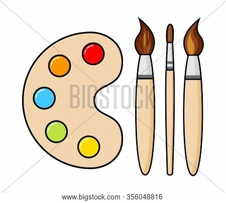 Vector Wooden Art Palette With Blobs Of Paint And Brushes Isolated On White Background. Artist Paint