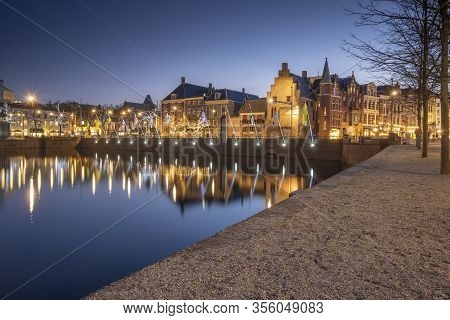 The Hague - February 17 2019: The Hague, The Neherlands. A Cozy Street With Cafes In The Center Of T
