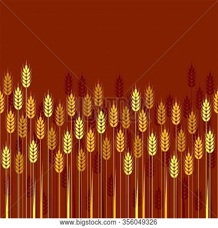 Vector Seamless Repeating Wheat, Barley Or Rye Background Pattern, Abstract Food Ornament, Seamless