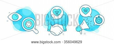 Kiss Me, Miss You And Heart Target Line Icons Set. Handshake Deal, Research And Promotion Complex Ic
