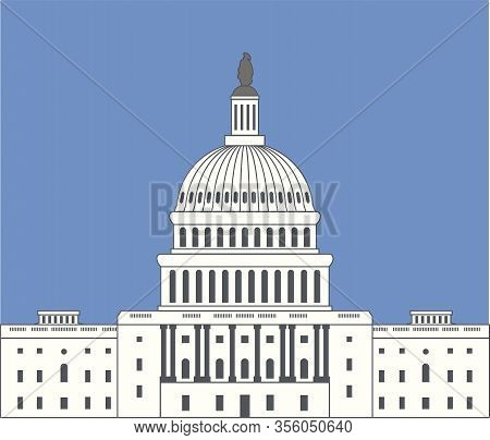 Vector Icon Of United States Capitol Hill Building Washington Dc, American Congress Dome Symbol Desi