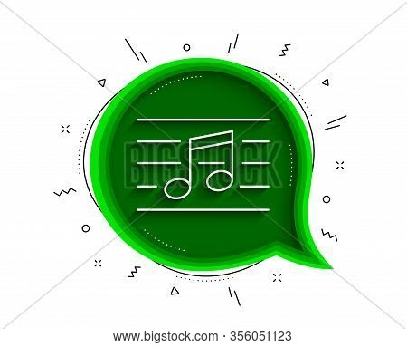 Musical Note Line Icon. Chat Bubble With Shadow. Music Sign. Thin Line Musical Note Icon. Vector