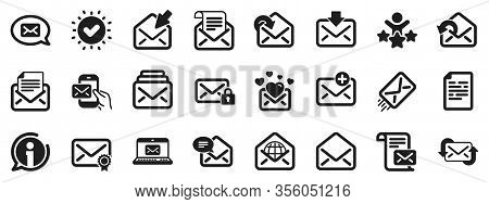 Newsletter, Email Document, Correspondence Icons. Mail Message Icons. Received Mail, Secure Message