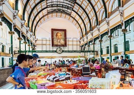 Ho Chi Minh City - Vietnam, April 24,2019: Portrait Of Ho Chin Minh, Communist Leader Of The Vietcon
