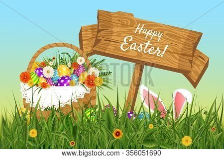 Vector Background For Easter. Template. Rabbit Ears Sticking Out Of The Grass . Wooden Plate With Th