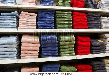 Towels On The Shelves In The Store.  Colorful Towels.